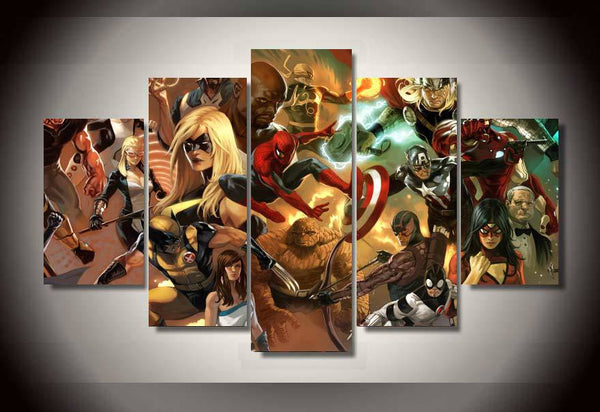 Heroic Age Avengers 5 Piece Canvas Painting