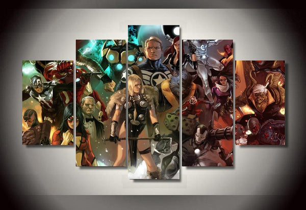 Marvel Comics Characters Group 5 Piece Painting Canvas