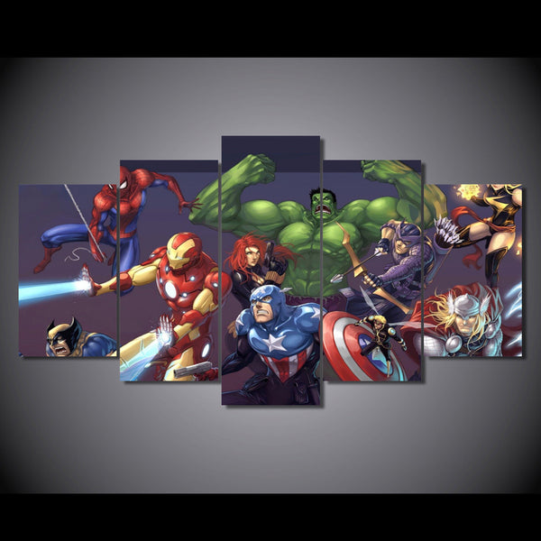 Marvel Ultimate Heroes 5 Piece Canvas Painting