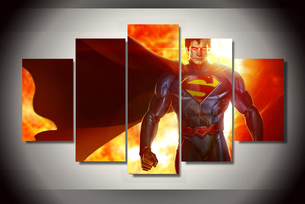 Superman Fire 5 Piece Canvas Painting