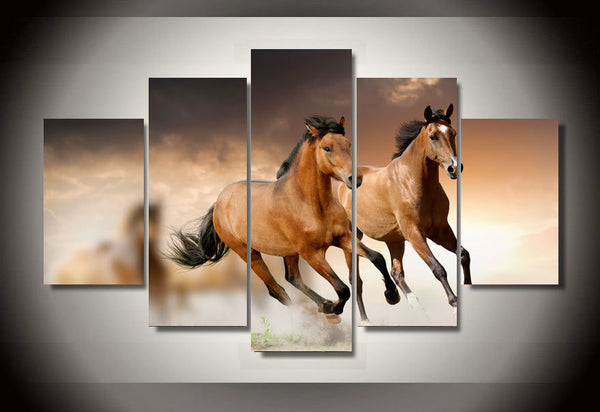 Horse Group 5 Piece Art Canvas
