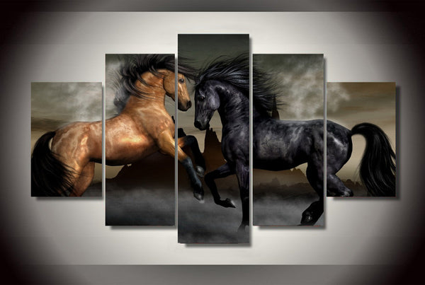 Battling Horses 5 Piece Wall Canvas