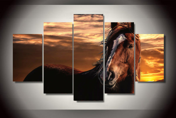 Sunset Sky Horse 5 Piece Art Canvas