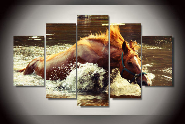 Horse In The Water  5 Piece Canvas