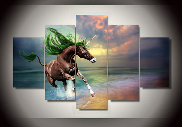 Brown Unicorn On Magical Beach Sunset 5 Piece Canvas