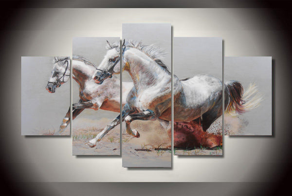 Beautiful Stallions In the Dirt 5 Piece Canvas