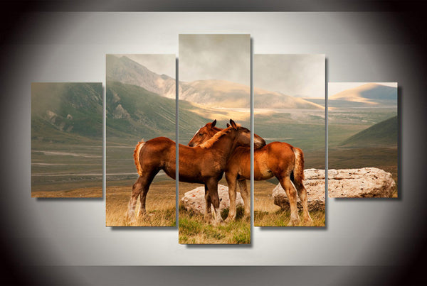 Horses By the Mountains 5 Piece Wall Canvas