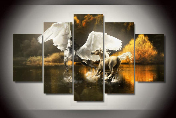 Stallions Galloping On Water Art Canvas