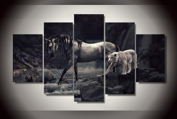 Horse and White Tiger 5 Piece Art Canvas