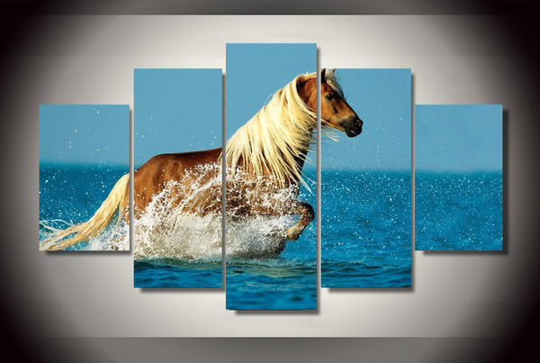 Brown Horse In the Ocean 5 Piece Art Canvas