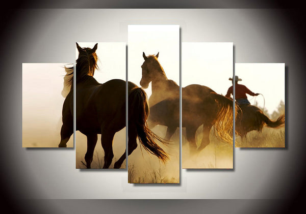 Cowboy Riding In the Wind 5 Piece Art Canvas