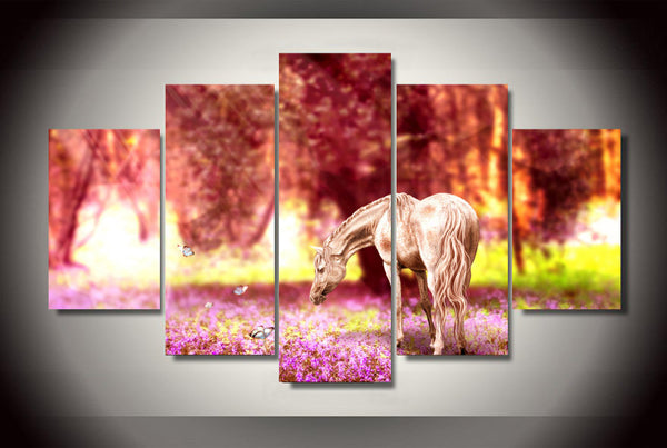 Beautiful Horse In the Jungle 5 Piece Art Canvas