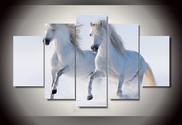 Galloping White Stallions in the Snow Art Canvas