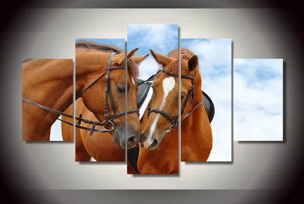Horses In Sky Blue Setting 5 Piece Art Canvas