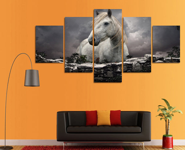 Horse in the Storm 5 Piece Art Canvas