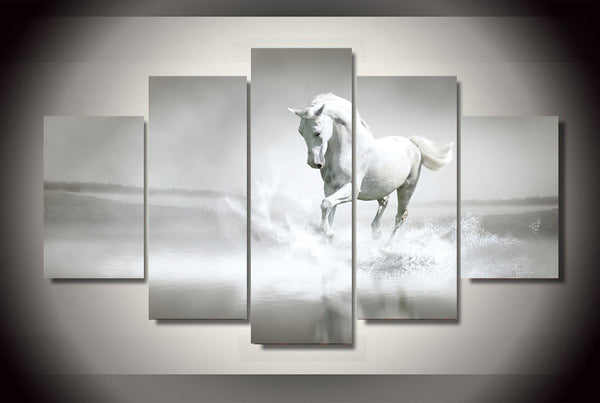 Beautiful White Stallion Stomping Through the Water 5 Piece Art Canvas