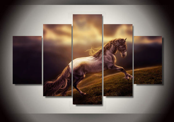 Horse Up the Hill 5 Piece Art Canvas
