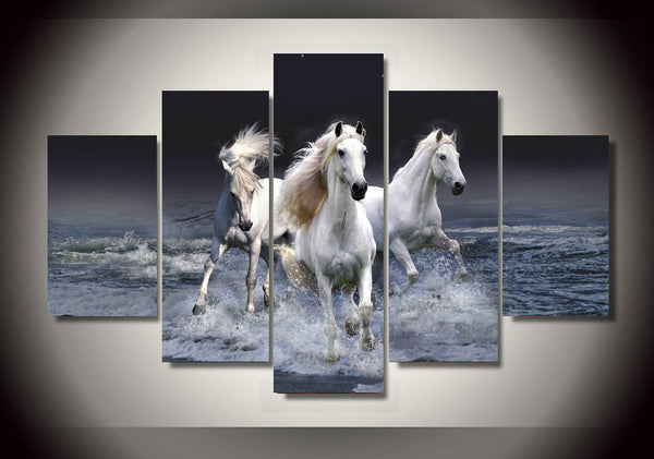 Group of White Horses in the Ocean 5 Piece Art Canvas