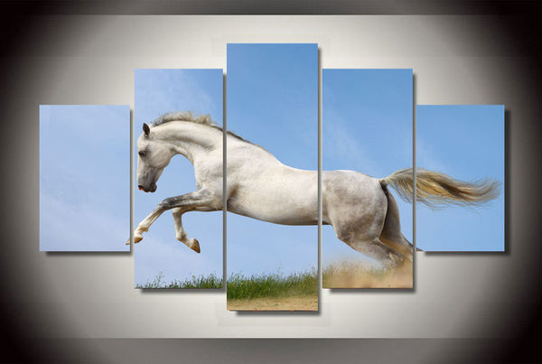 Galloping White Horse 5 Piece Canvas