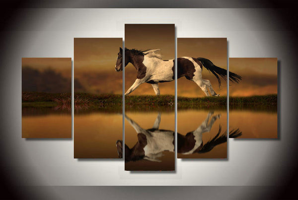 Horse on the Lake 5 Piece Art Canvas