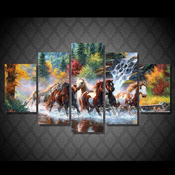 Horses on the Waterfall 5 Piece Art Canvas
