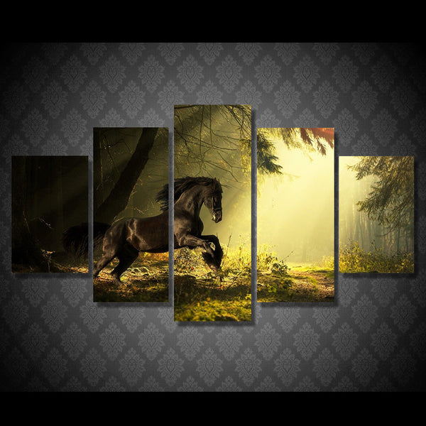 Horse on the Swamp 5 Piece Art Canvas