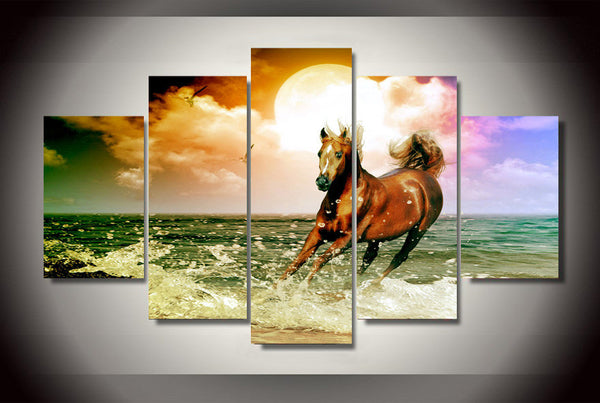 Horse on the Beach in the Sunset 5 Piece Art Canvas