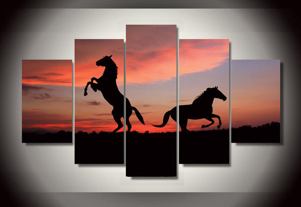 Horses in the Sunset 5 Piece Art Canvas
