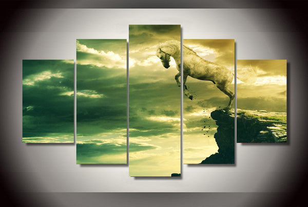 White Stallion Hanging on a Cliff 5 Piece Art Canvas