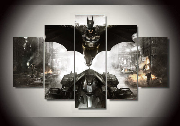 Batman Above Batmobile Art Canvas