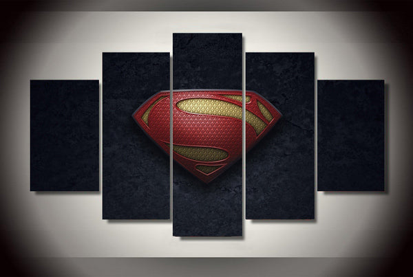 Superman Dark Logo 5 Piece Art Canvas