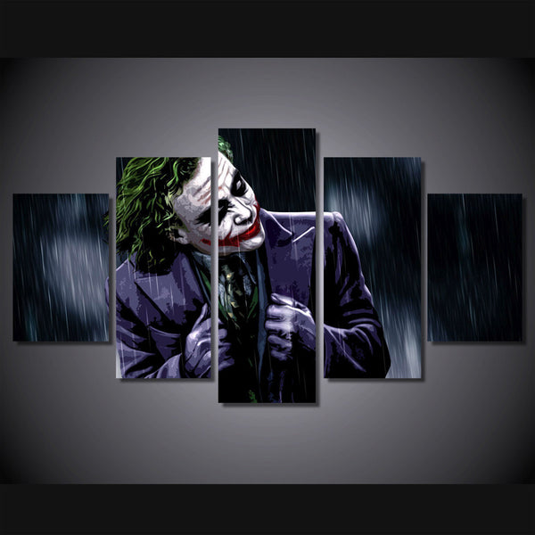 A Joker In the Rain 5 Piece Art Canvas