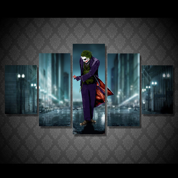 A Joker City 5 Piece Art Canvas
