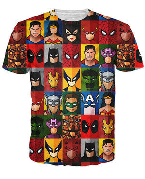 Marvel and DC Comic Tee