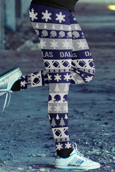 Dallas Ugly Christmas Classic Football Leggings