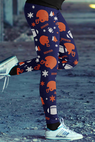 Denver Ugly Christmas Random Football Leggings