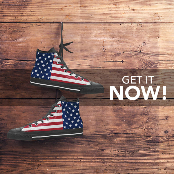 High Top American Flag Shoes