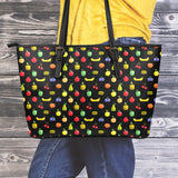 Bitmap Fruit Small Leather Tote Bag