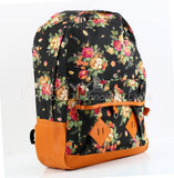 1pcs Vintage Cotton blend and faux leather Women Girl Cute Flower Floral Bag Schoolbag Bookbag Backpack Hot Selling