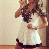 Women's Lace V Neck Short Sleeve Sexy Vintage Patchwork Lace Dress Party Cocktail Mini Dress