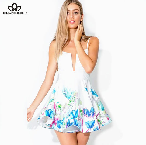 2016 summer new sexy deep v-strap light blue floral print white cami dresses short beach skater pleated dress