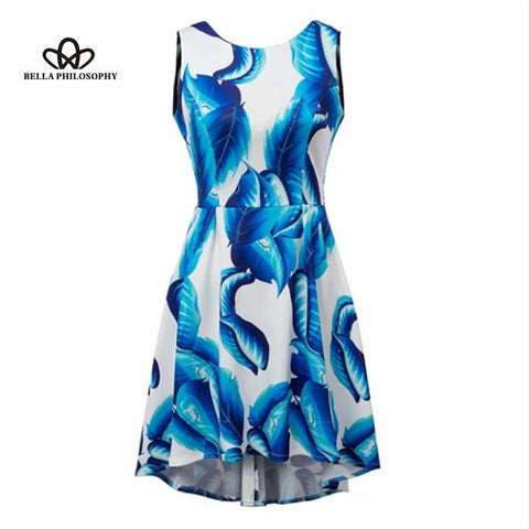 2015 summer  blue digital floral print dovetail irregular asymmetricn hem high-low sleeveless back open skater dress
