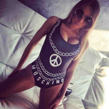 2016 Chain and Letter Printed One Piece Swimsuit Push Up Sexy  Women Bodysuit Swimsuit Backless Beach Beach Swim Bathing Suits