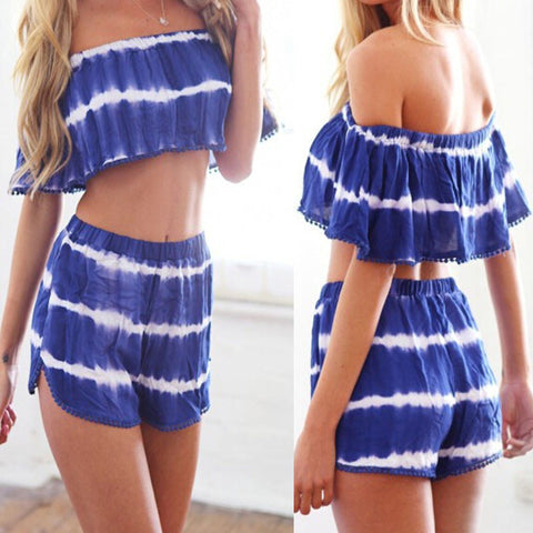 2016 New Summer Women Two Piece Jumpsuit Sexy Slash Neck Off Shoulder Short Pants Romper Backless Cropped Beach Overalls
