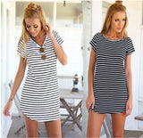 2016 fashion dress Monochrome Stripe Short Sleeve Shift Dress hort Sleeve Neck Mini Vestidos