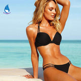 2016 lingerie string Halter rope Bra Set Top micro Bikini women Sexy bathing solid push up Swimsuit shell push up hot