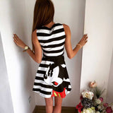 2016 summer new fashion women mouse pattern print dress casual o-neck sleeveless striped letters printed dresses
