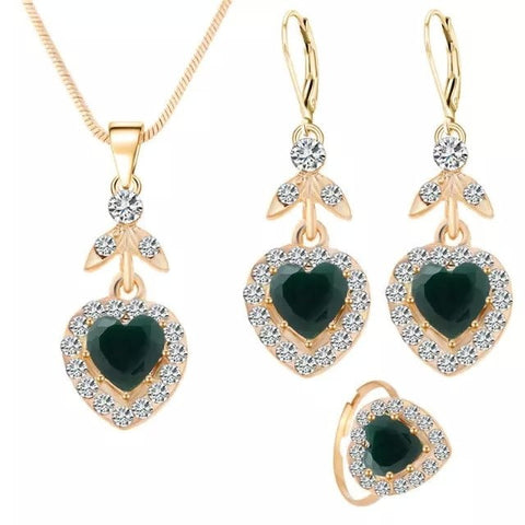 Fashion Cute Heart Shaped Necklace Earring Ring Set Goldplated Rhinestones Leaf Dangle Earring Pendant Necklace Adjustable Ring Gift For Ladies Children
