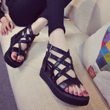 Summer Contracted Roman Sandals Women In Europe and The Height of Tide Restoring Ancient Ways with Black Fine Cross Bind Belt Cover Students Toe Sandals NRJS