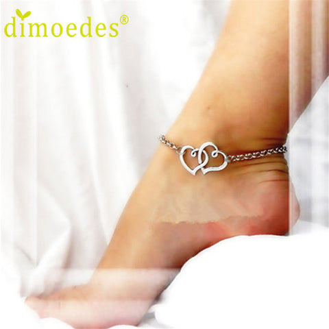 New Double Heart Chain Beach Sexy Sandal Anklet Ankle Bracelet for Lady Perfect Gift 1pc